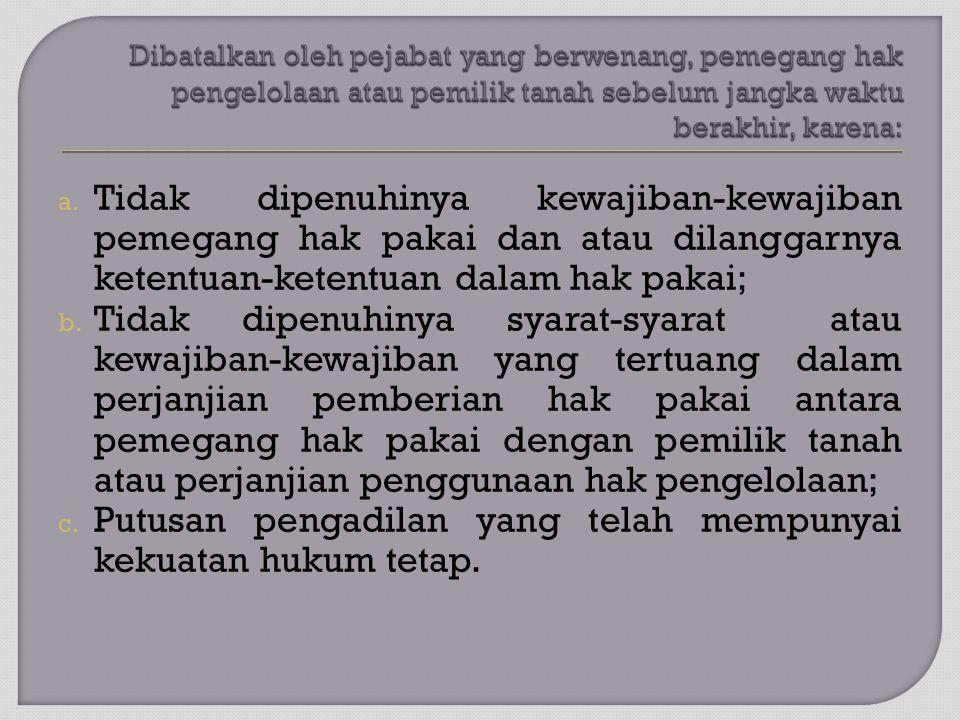 a. Tidak dipenuhinya kewajiban-kewajiban pemegang hak pakai dan atau dilanggarnya ketentuan-ketentuan dalam hak pakai; b. Tidak dipenuhinya syarat-sya