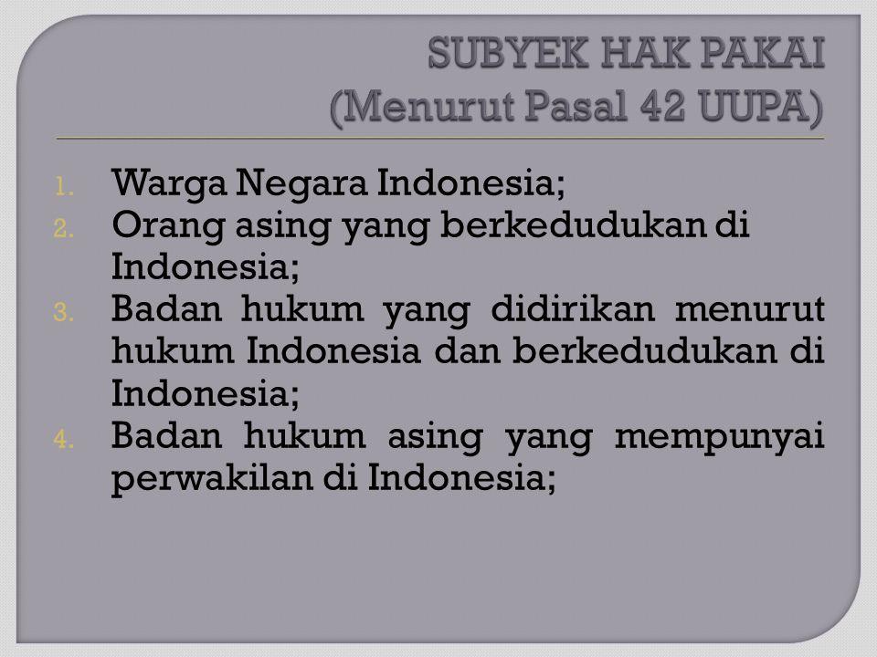 1. Warga Negara Indonesia; 2. Orang asing yang berkedudukan di Indonesia; 3. Badan hukum yang didirikan menurut hukum Indonesia dan berkedudukan di In