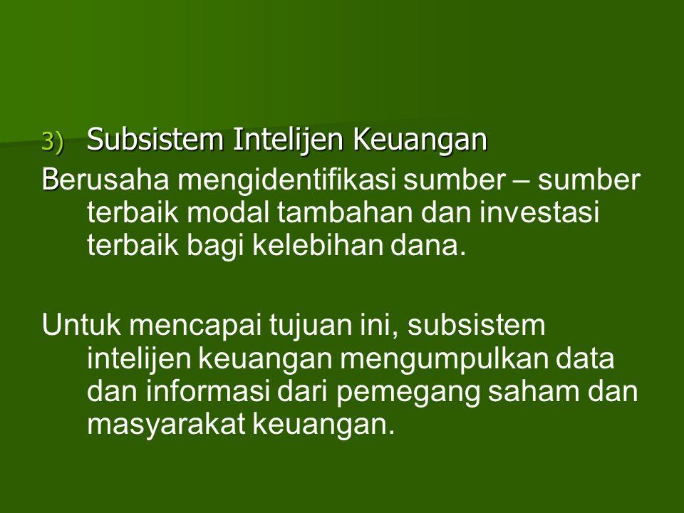 3) Subsistem Intelijen Keuangan B B erusaha mengidentifikasi sumber – sumber terbaik modal tambahan dan investasi terbaik bagi kelebihan dana. Untuk m