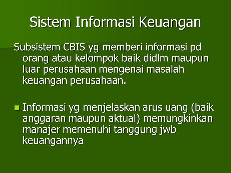Sistem Informasi Keuangan Subsistem CBIS yg memberi informasi pd orang atau kelompok baik didlm maupun luar perusahaan mengenai masalah keuangan perus
