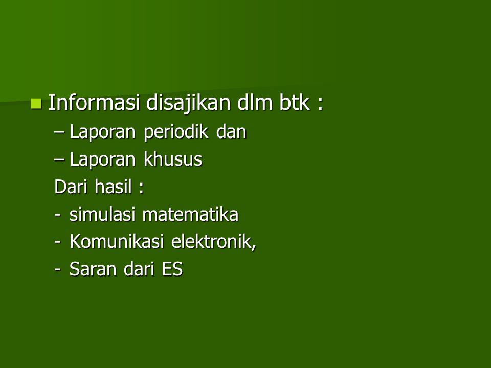 Informasi disajikan dlm btk : Informasi disajikan dlm btk : –Laporan periodik dan –Laporan khusus Dari hasil : -simulasi matematika -Komunikasi elektr