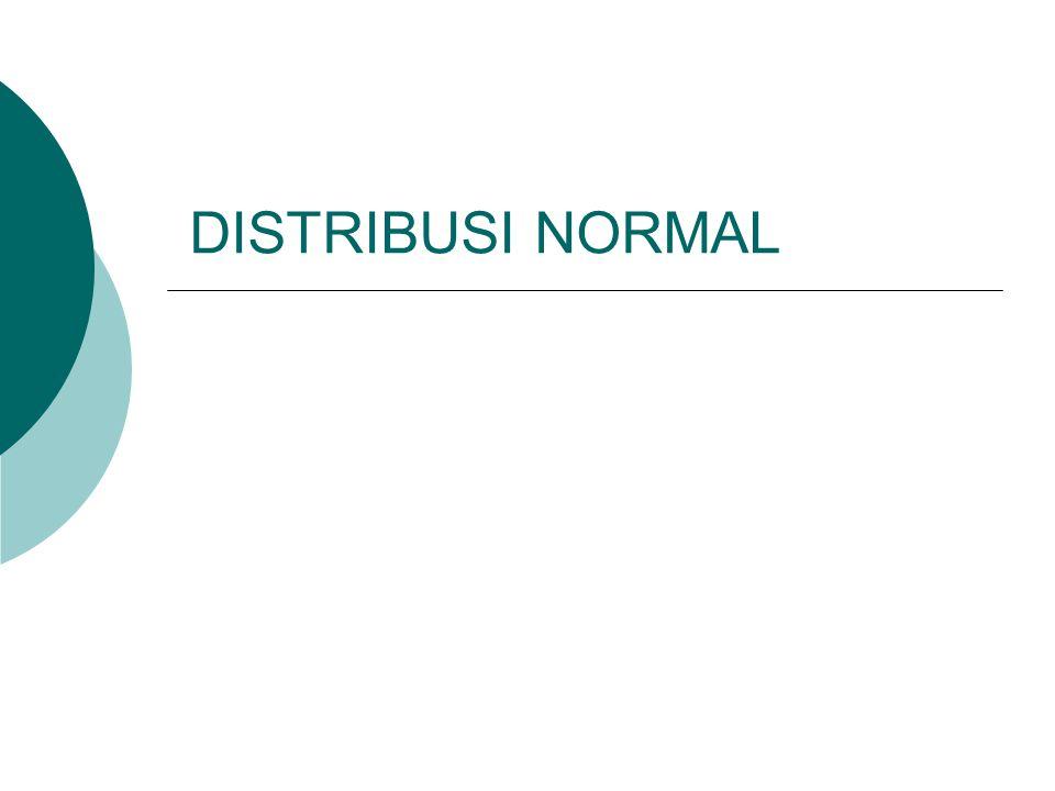 DEFINISI Bila X adalah suatu peubah acak normal dengan nilai tengah  dan ragam (variance) 2, maka persamaan kurva normalnya adalah