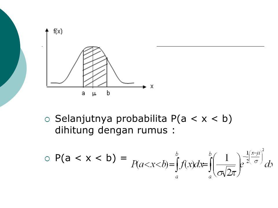  Selanjutnya probabilita P(a < x < b) dihitung dengan rumus :  P(a < x < b) =