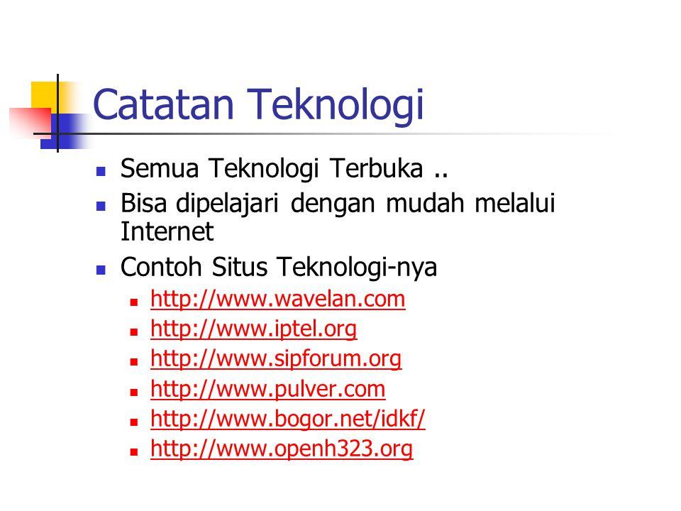 Catatan Teknologi Semua Teknologi Terbuka.. Bisa dipelajari dengan mudah melalui Internet Contoh Situs Teknologi-nya http://www.wavelan.com http://www