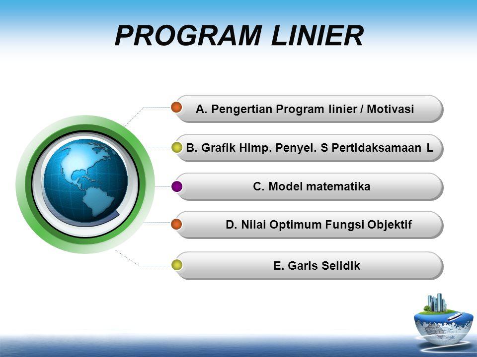 PROGRAM LINIER A.Pengertian Program linier / Motivasi B.