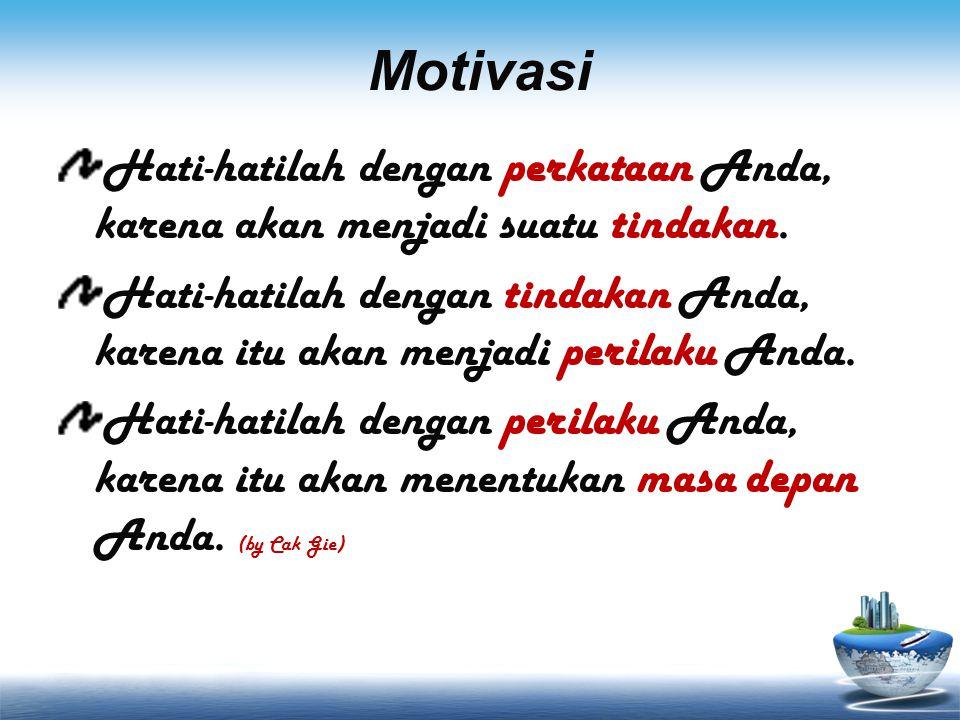 Motivasi Hati-hatilah dengan perkataan Anda, karena akan menjadi suatu tindakan.