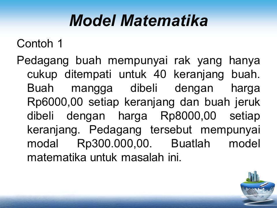 Model Matematika Contoh 1 Pedagang buah mempunyai rak yang hanya cukup ditempati untuk 40 keranjang buah.