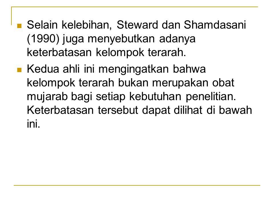 Selain kelebihan, Steward dan Shamdasani (1990) juga menyebutkan adanya keterbatasan kelompok terarah. Kedua ahli ini mengingatkan bahwa kelompok tera