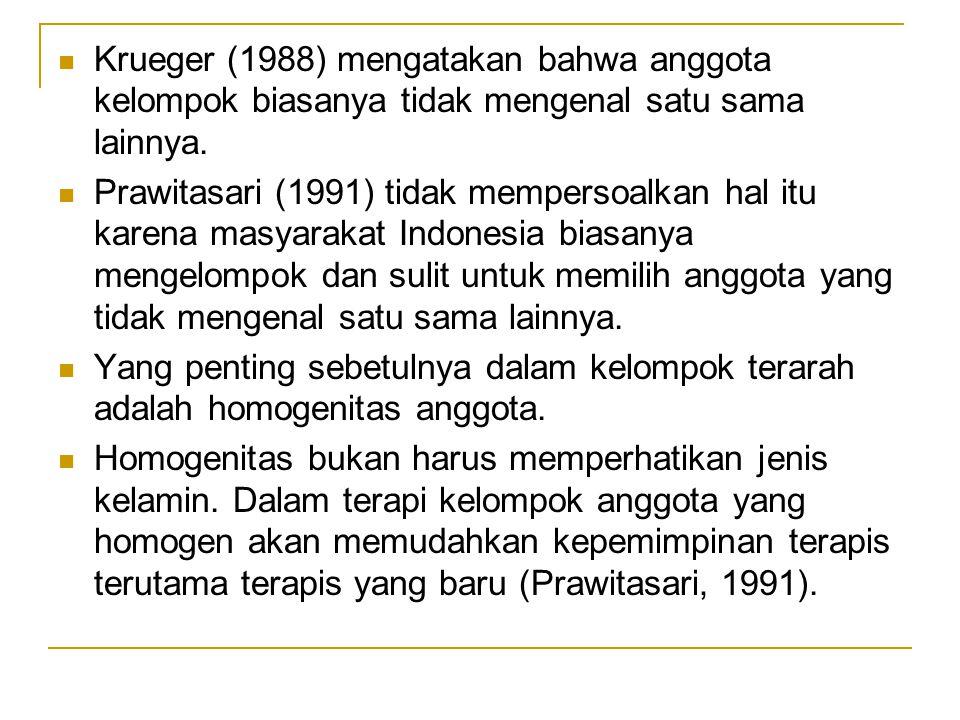 Krueger (1988) mengatakan bahwa anggota kelompok biasanya tidak mengenal satu sama lainnya. Prawitasari (1991) tidak mempersoalkan hal itu karena masy