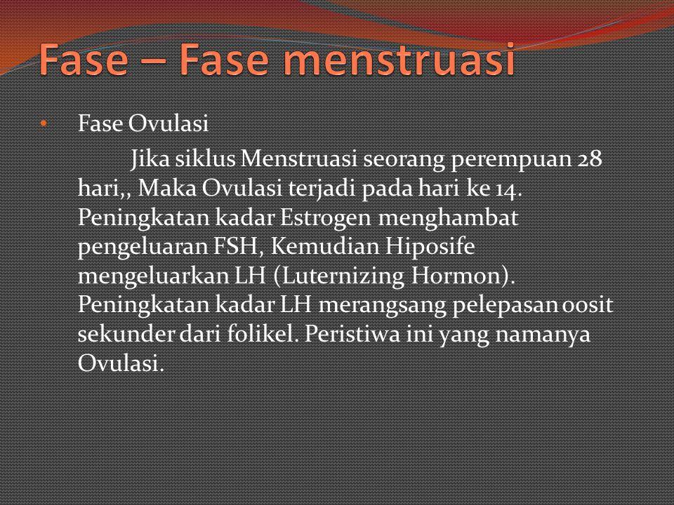 Fase Pra ovulasi atau Fase Poliferasi Fase ini terjadi karena Hormon pembebas gonadotropin yang dikeluarkan hipotalamus akan memacu hiposife untuk mengeluarkan FSH (folikel stimulating hormon).