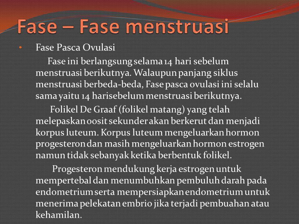 Fase Ovulasi Jika siklus Menstruasi seorang perempuan 28 hari,, Maka Ovulasi terjadi pada hari ke 14.