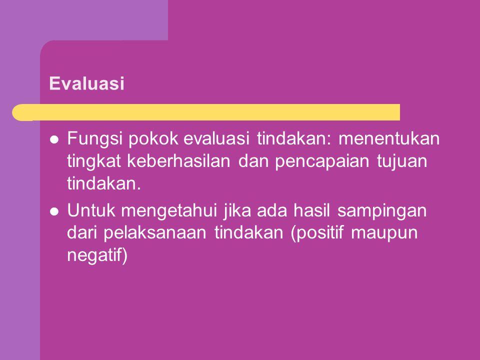Evaluasi Fungsi pokok evaluasi tindakan: menentukan tingkat keberhasilan dan pencapaian tujuan tindakan.