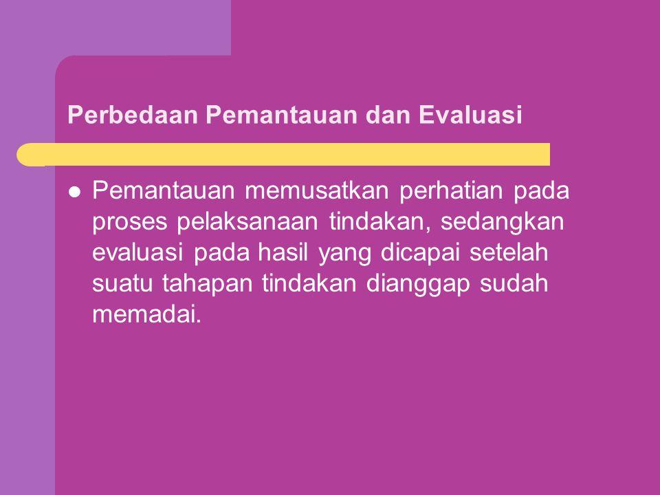 Perbedaan Pemantauan dan Evaluasi Pemantauan memusatkan perhatian pada proses pelaksanaan tindakan, sedangkan evaluasi pada hasil yang dicapai setelah suatu tahapan tindakan dianggap sudah memadai.