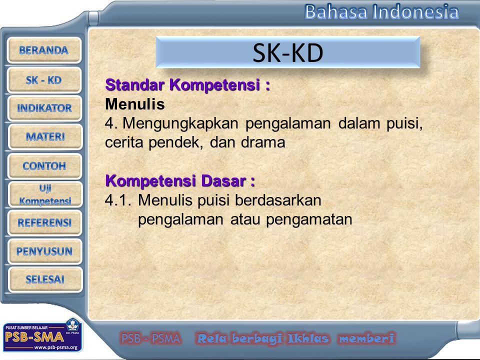 SK-KD Standar Kompetensi : Menulis 4. Mengungkapkan pengalaman dalam puisi, cerita pendek, dan drama Kompetensi Dasar : 4.1.Menulis puisi berdasarkan