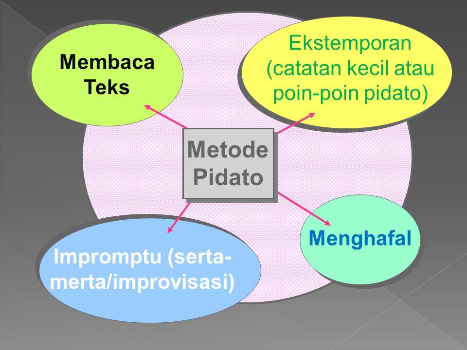 Membaca Teks Impromptu (serta- merta/improvisasi) Menghafal Ekstemporan (catatan kecil atau poin-poin pidato) Metode Pidato