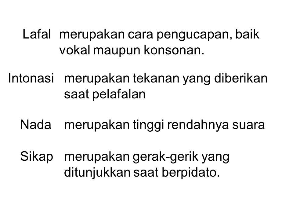 Lafal merupakan cara pengucapan, baik vokal maupun konsonan.