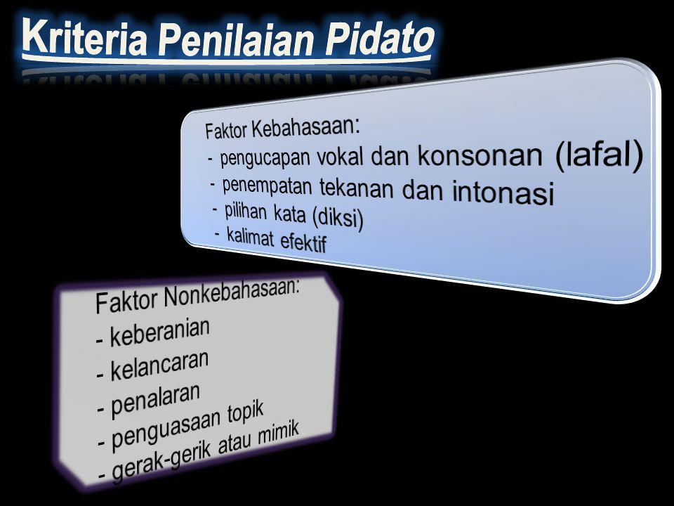 Lafal merupakan cara pengucapan, baik vokal maupun konsonan. Intonasi merupakan tekanan yang diberikan saat pelafalan Nada merupakan tinggi rendahnya
