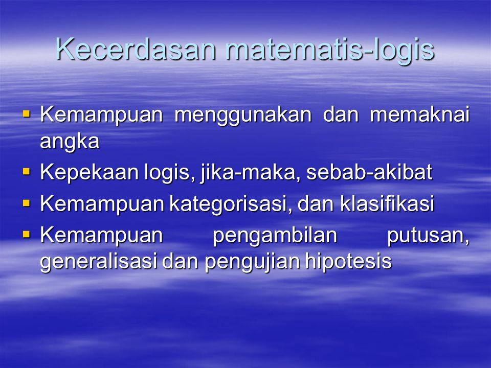 Kecerdasan linguistik  Kemamapuan kata, frasa dan kalimat secara efektif  Kemampuan menangkap narasi,deskripsi eksposisi,argumentasi dan persuasi 