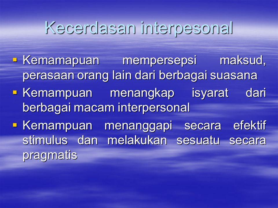 Kecerdasan intrapersonal  Kemampuan memahami diri sendiri dan bertindak atas dasar pemahaman tersebut  Kesadaran pada suasana hati; motivasi, niatan, temperamen dan berdisiplin diri  Pemahaman secara akurat tentang kekuatan dan keterbatasan yang dimiliki dan bagaimana memberdayakannya