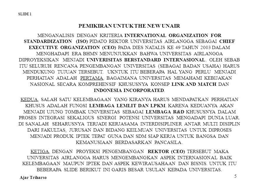 5 PEMIKIRAN UNTUK THE NEW UNAIR MENGANALISIS DENGAN KRITERIA INTERNATIONAL ORGANIZATION FOR STANDARDIZATION (ISO) PIDATO REKTOR UNIVERSITAS AIRLANGGA