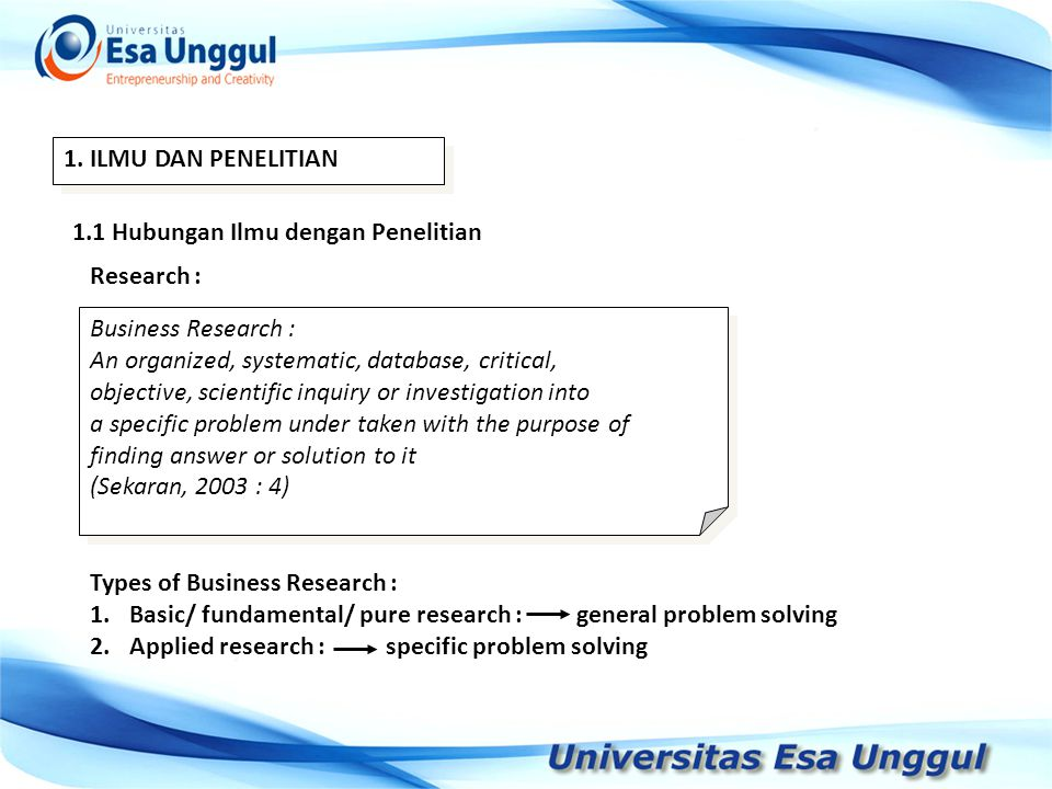 1. ILMU DAN PENELITIAN 1.1 Hubungan Ilmu dengan Penelitian Research : Business Research : An organized, systematic, database, critical, objective, sci