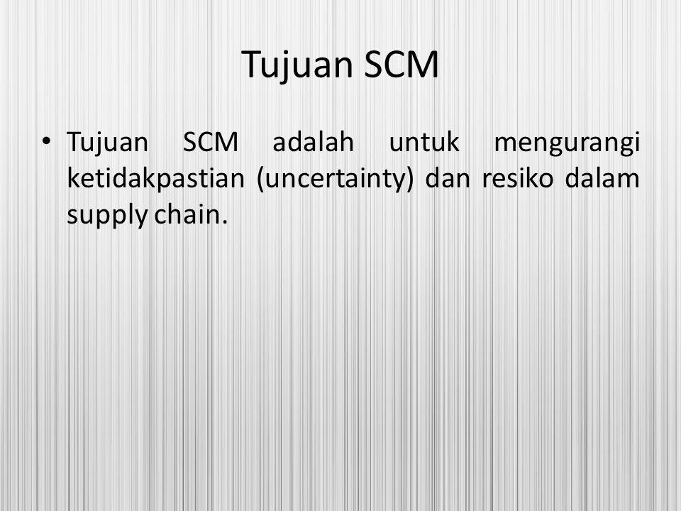 Tujuan SCM Tujuan SCM adalah untuk mengurangi ketidakpastian (uncertainty) dan resiko dalam supply chain.