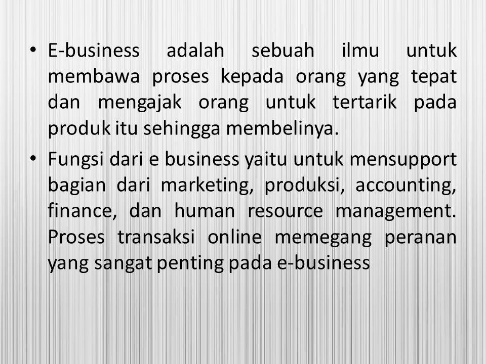 E-business adalah sebuah ilmu untuk membawa proses kepada orang yang tepat dan mengajak orang untuk tertarik pada produk itu sehingga membelinya. Fung