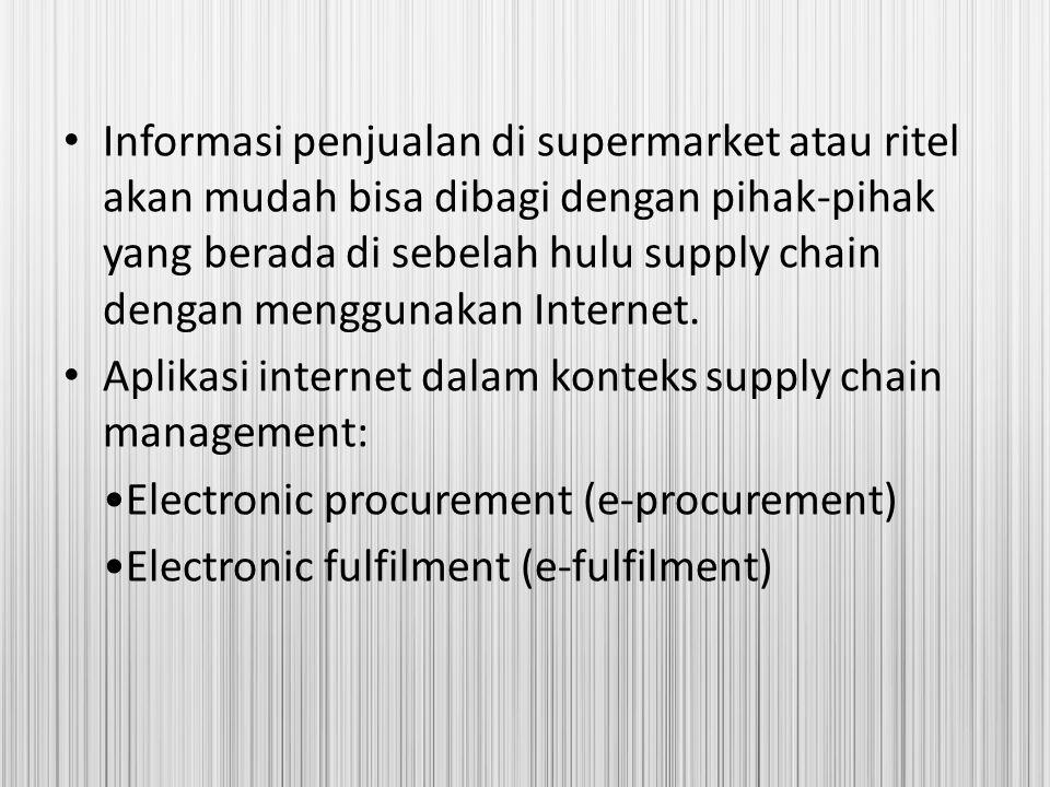 Informasi penjualan di supermarket atau ritel akan mudah bisa dibagi dengan pihak-pihak yang berada di sebelah hulu supply chain dengan menggunakan In