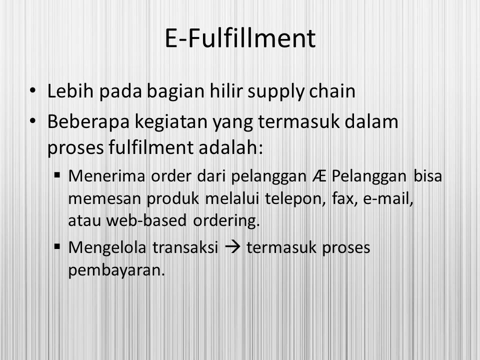 E-Fulfillment Lebih pada bagian hilir supply chain Beberapa kegiatan yang termasuk dalam proses fulfilment adalah:  Menerima order dari pelanggan Æ P
