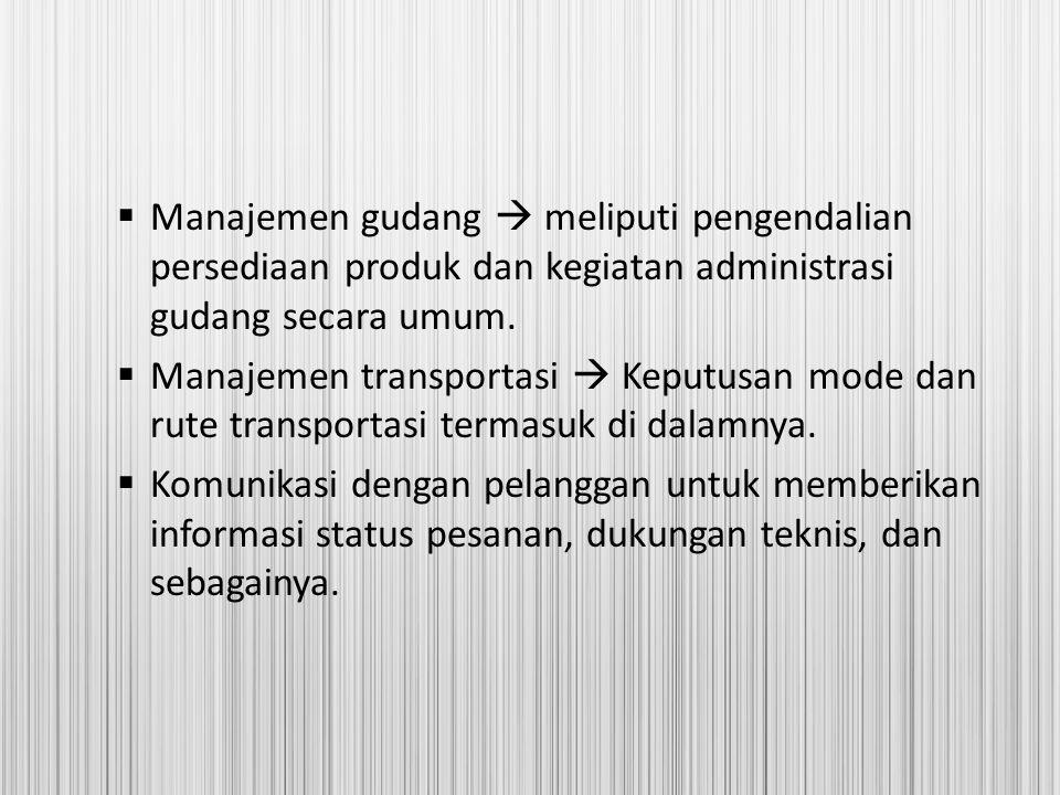  Manajemen gudang  meliputi pengendalian persediaan produk dan kegiatan administrasi gudang secara umum.  Manajemen transportasi  Keputusan mode d