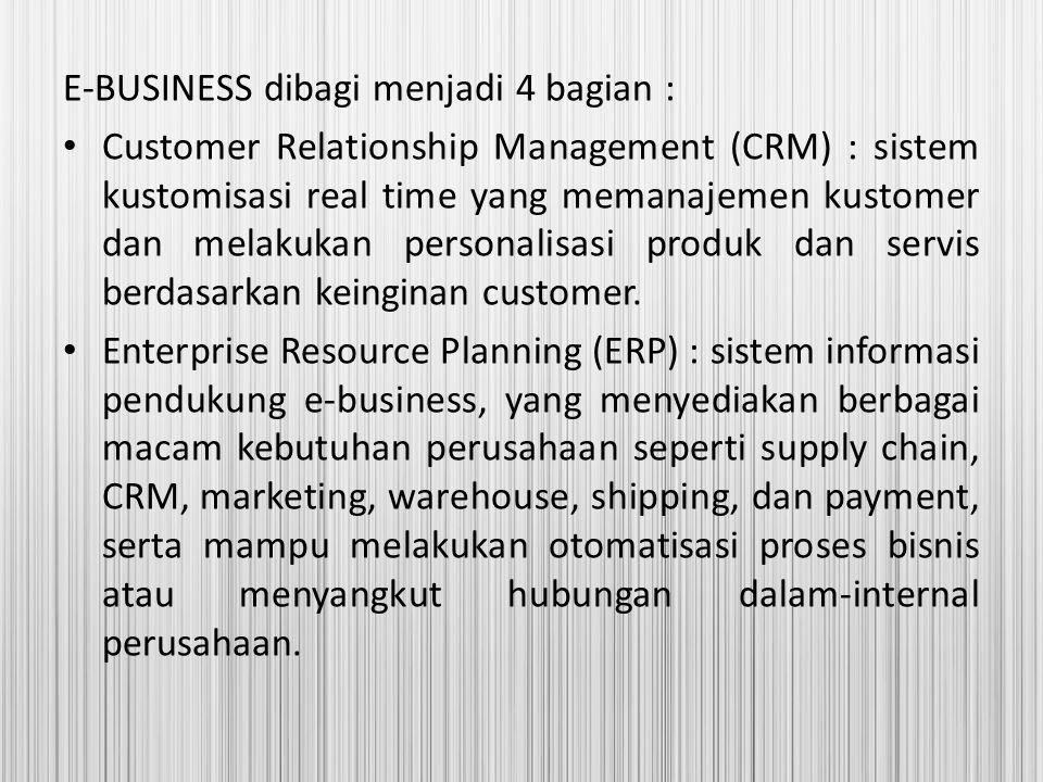 E-BUSINESS dibagi menjadi 4 bagian : Customer Relationship Management (CRM) : sistem kustomisasi real time yang memanajemen kustomer dan melakukan per