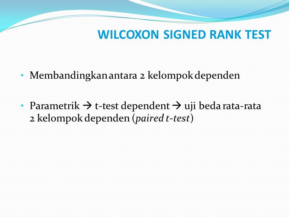 WILCOXON SIGNED RANK TEST Membandingkan antara 2 kelompok dependen Parametrik  t-test dependent  uji beda rata-rata 2 kelompok dependen (paired t-te