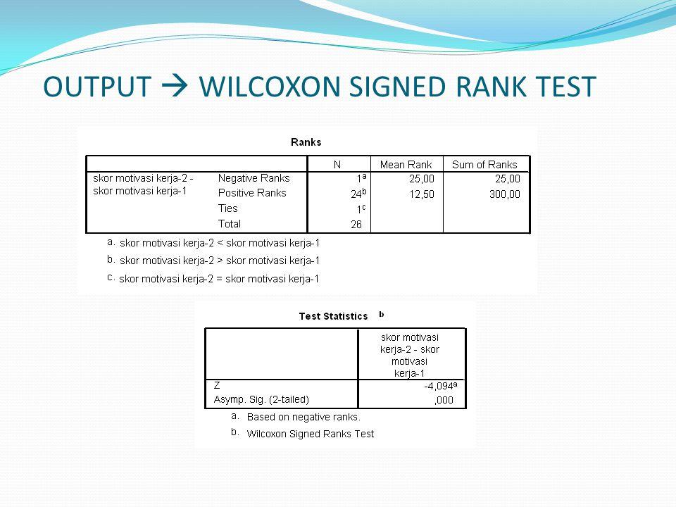 OUTPUT  WILCOXON SIGNED RANK TEST