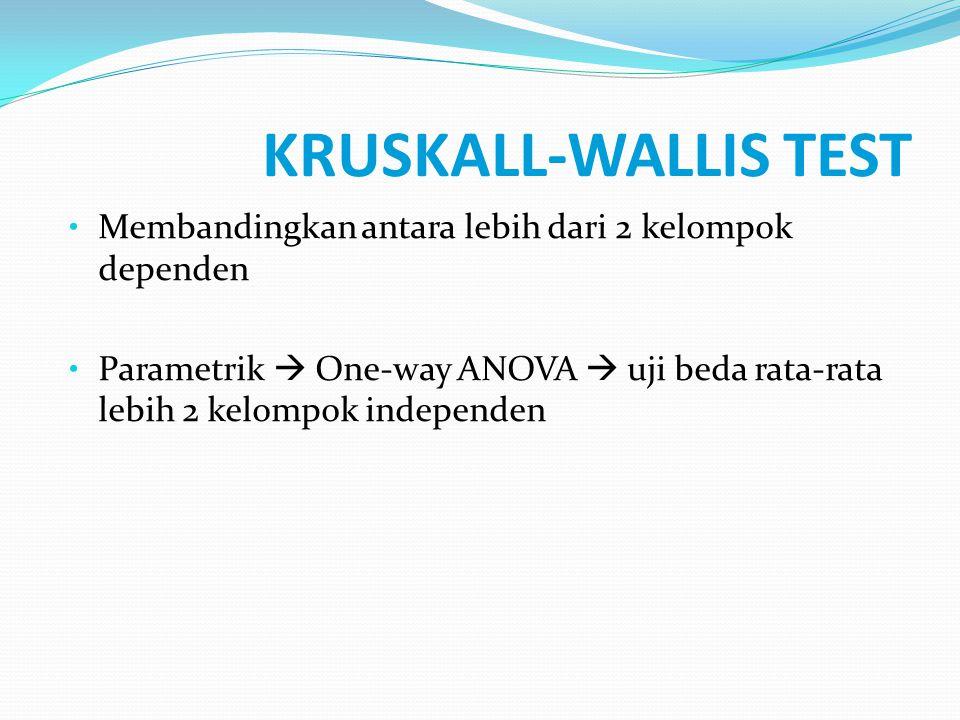 KRUSKALL-WALLIS TEST Membandingkan antara lebih dari 2 kelompok dependen Parametrik  One-way ANOVA  uji beda rata-rata lebih 2 kelompok independen