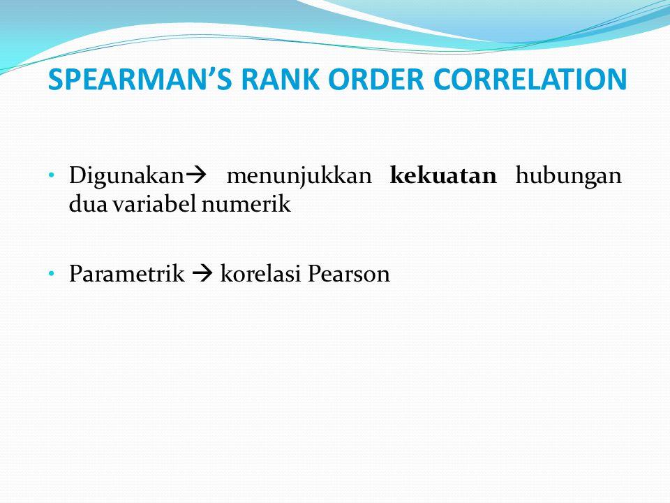 SPEARMAN'S RANK ORDER CORRELATION Digunakan  menunjukkan kekuatan hubungan dua variabel numerik Parametrik  korelasi Pearson