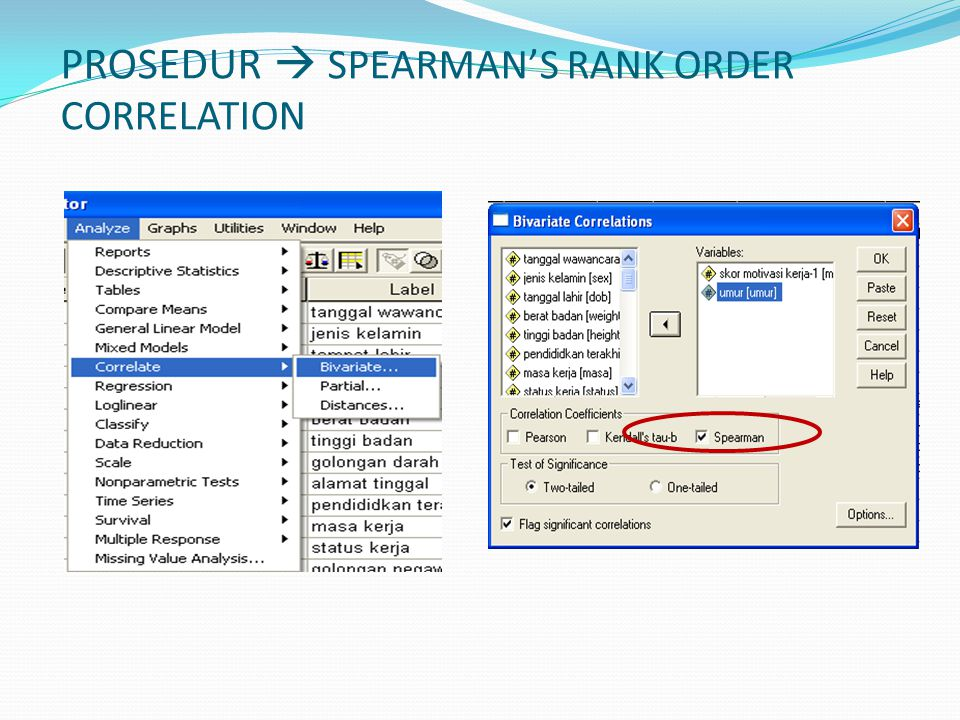 PROSEDUR  SPEARMAN'S RANK ORDER CORRELATION