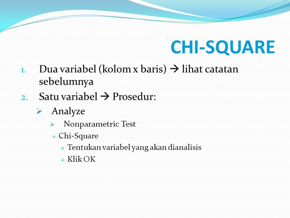 CHI-SQUARE 1. Dua variabel (kolom x baris)  lihat catatan sebelumnya 2. Satu variabel  Prosedur:  Analyze  Nonparametric Test  Chi-Square  Tentu