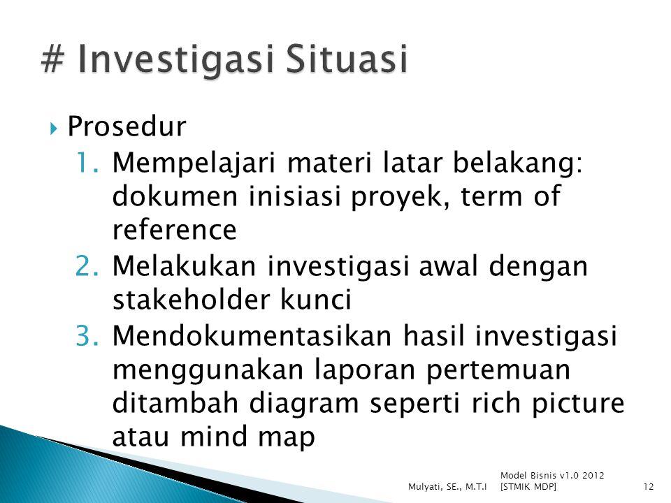  Prosedur 1.Mempelajari materi latar belakang: dokumen inisiasi proyek, term of reference 2.Melakukan investigasi awal dengan stakeholder kunci 3.Men