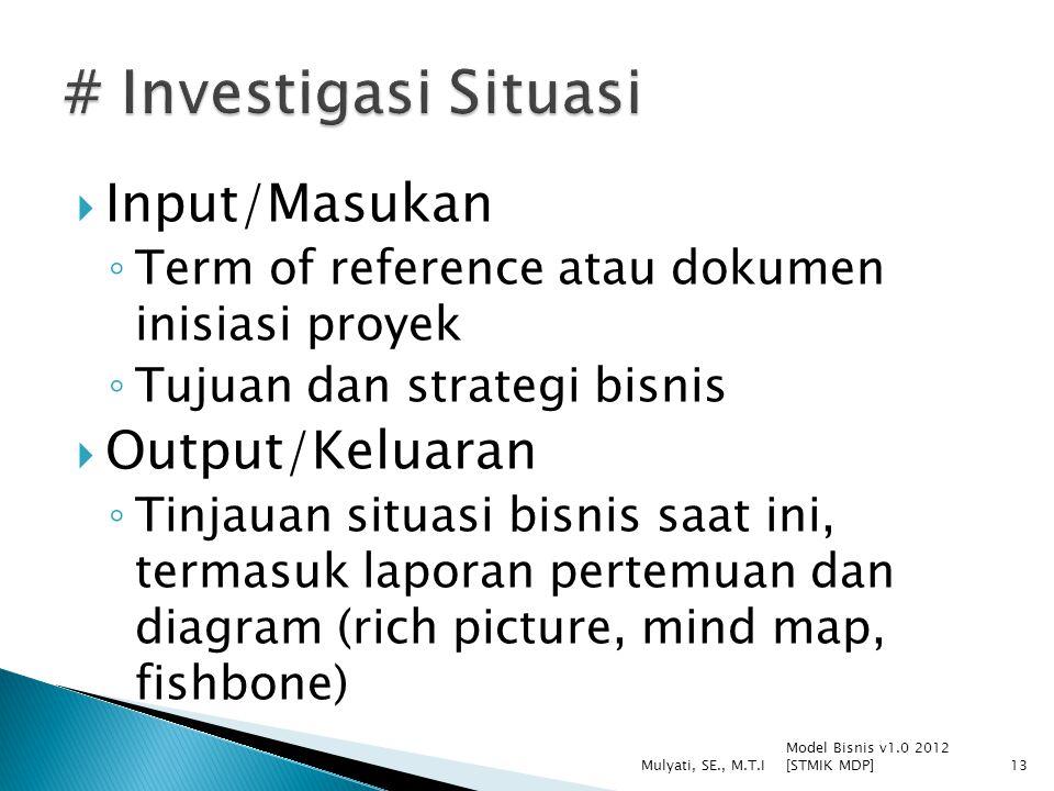  Input/Masukan ◦ Term of reference atau dokumen inisiasi proyek ◦ Tujuan dan strategi bisnis  Output/Keluaran ◦ Tinjauan situasi bisnis saat ini, te