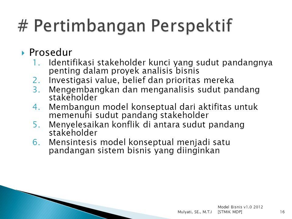 Prosedur 1.Identifikasi stakeholder kunci yang sudut pandangnya penting dalam proyek analisis bisnis 2.Investigasi value, belief dan prioritas merek
