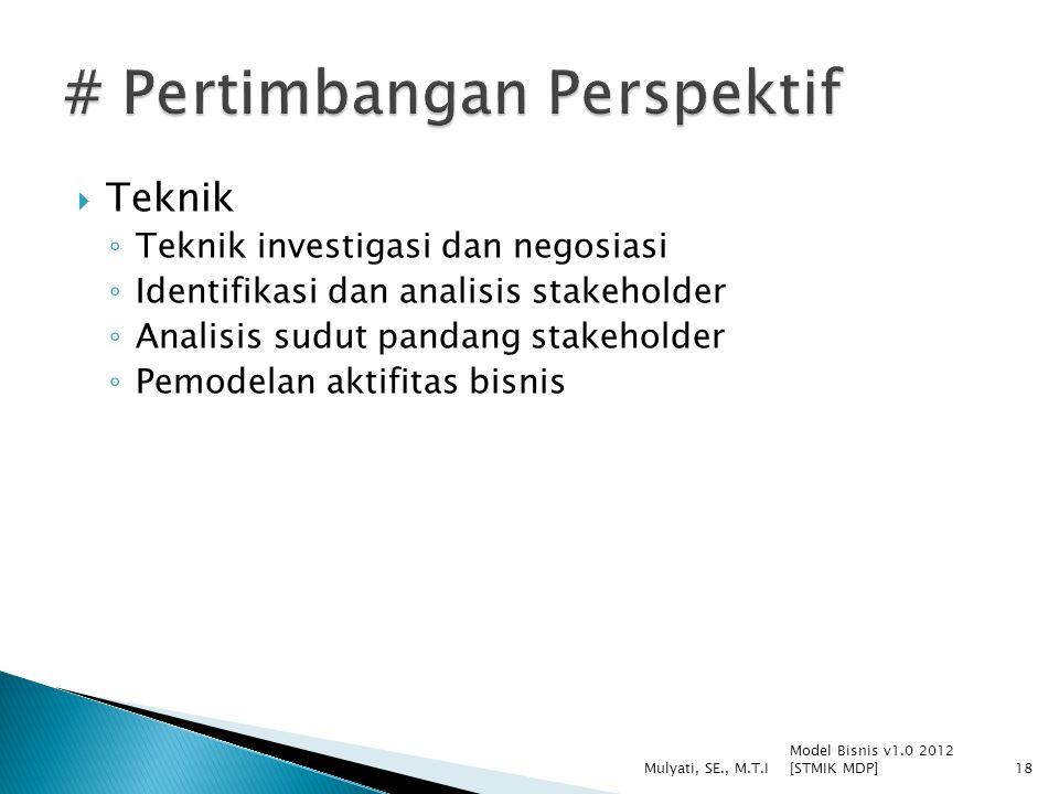  Teknik ◦ Teknik investigasi dan negosiasi ◦ Identifikasi dan analisis stakeholder ◦ Analisis sudut pandang stakeholder ◦ Pemodelan aktifitas bisnis