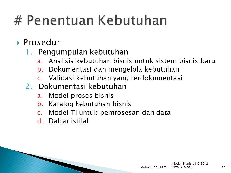  Prosedur 1.Pengumpulan kebutuhan a.Analisis kebutuhan bisnis untuk sistem bisnis baru b.Dokumentasi dan mengelola kebutuhan c.Validasi kebutuhan yan