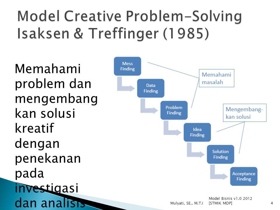 Model Bisnis v1.0 2012 [STMIK MDP] Mulyati, SE., M.T.I4 Memahami problem dan mengembang kan solusi kreatif dengan penekanan pada investigasi dan anali
