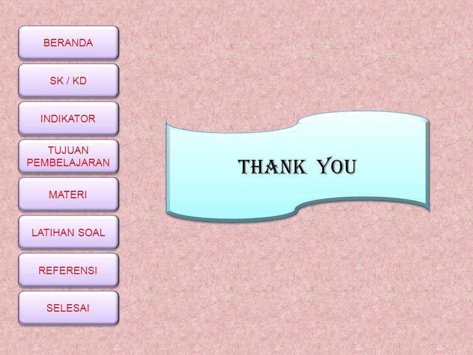 BERANDA SK / KD INDIKATOR TUJUAN PEMBELAJARAN TUJUAN PEMBELAJARAN MATERI LATIHAN SOAL REFERENSI SELESAI THANK YOU
