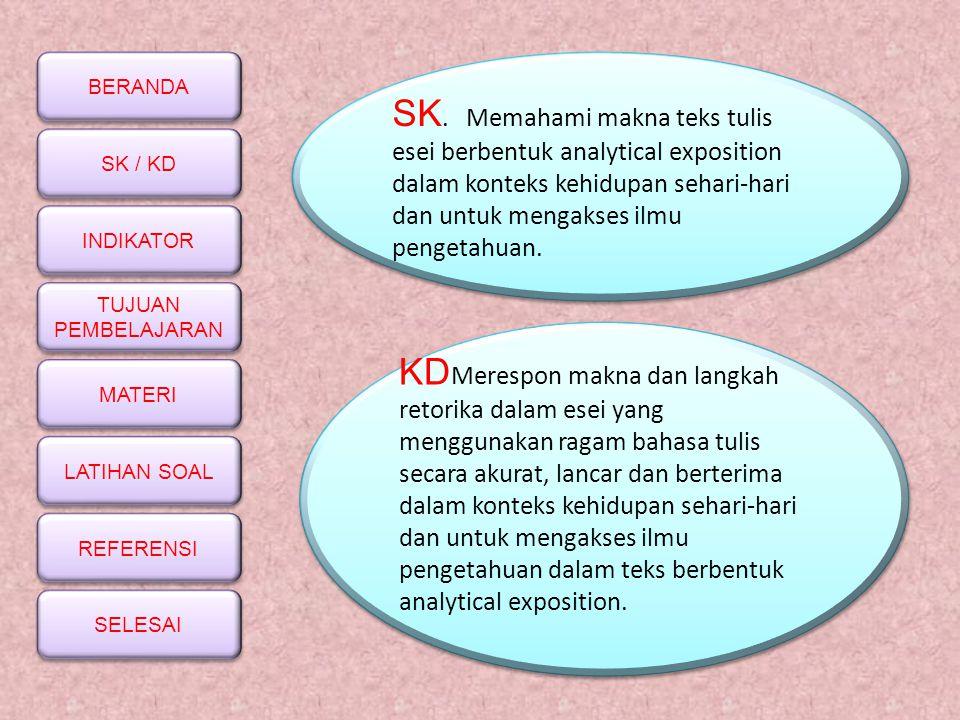 BERANDA SK / KD INDIKATOR TUJUAN PEMBELAJARAN TUJUAN PEMBELAJARAN MATERI LATIHAN SOAL REFERENSI SELESAI SK. Memahami makna teks tulis esei berbentuk a