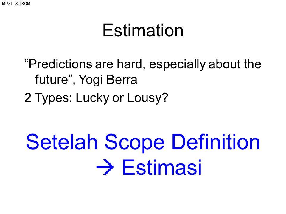 "MPSI - STIKOM Estimation ""Predictions are hard, especially about the future"", Yogi Berra 2 Types: Lucky or Lousy? Setelah Scope Definition  Estimasi"