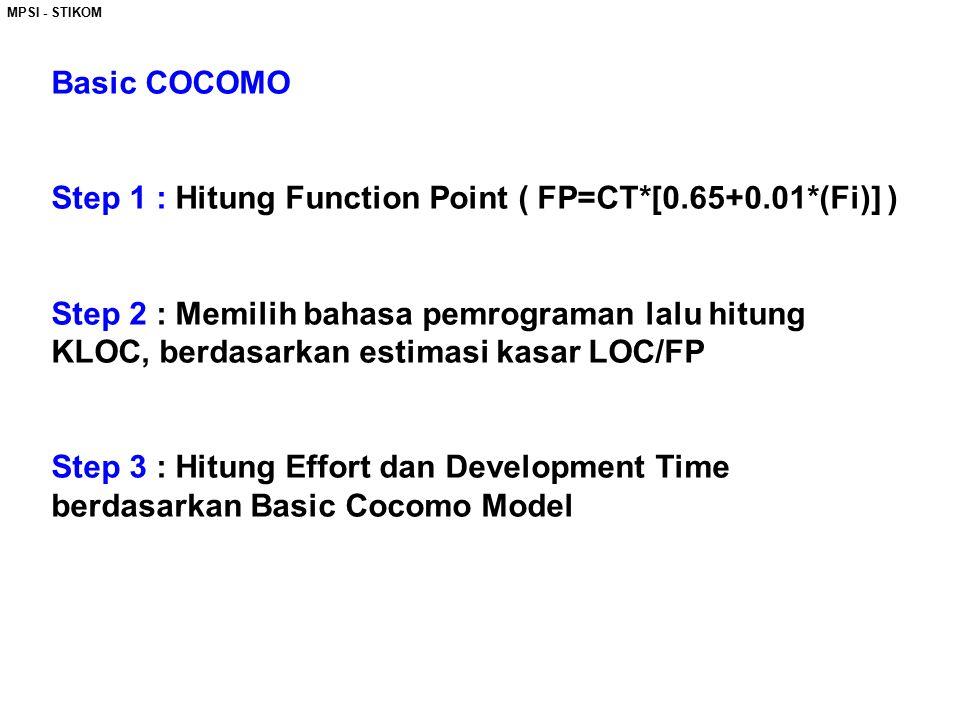 MPSI - STIKOM Basic COCOMO Step 1 : Hitung Function Point ( FP=CT*[0.65+0.01*(Fi)] ) Step 2 : Memilih bahasa pemrograman lalu hitung KLOC, berdasarkan