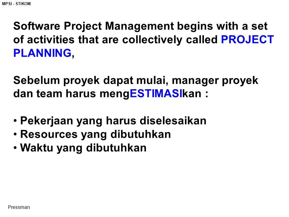 MPSI - STIKOM Software Project Management begins with a set of activities that are collectively called PROJECT PLANNING, Sebelum proyek dapat mulai, manager proyek dan team harus mengESTIMASIkan : Pekerjaan yang harus diselesaikan Resources yang dibutuhkan Waktu yang dibutuhkan Pressman