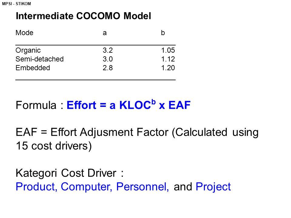 MPSI - STIKOM Intermediate COCOMO Model Modeab ________________________________________ Organic3.21.05 Semi-detached3.01.12 Embedded2.81.20 ________________________________________ Formula : Effort = a KLOC b x EAF EAF = Effort Adjusment Factor (Calculated using 15 cost drivers) Kategori Cost Driver : Product, Computer, Personnel, and Project