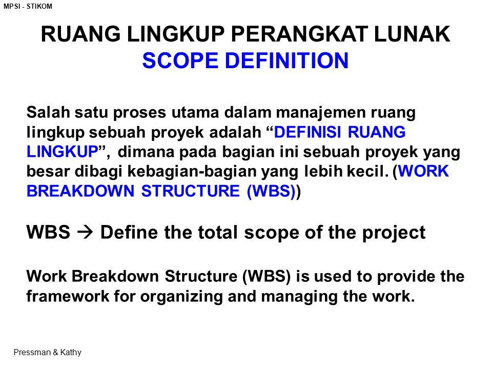 """MPSI - STIKOM Salah satu proses utama dalam manajemen ruang lingkup sebuah proyek adalah """"DEFINISI RUANG LINGKUP"""", dimana pada bagian ini sebuah proye"""
